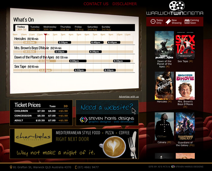 New website with a customised back end CMS for easy updating and distribution of movie times.